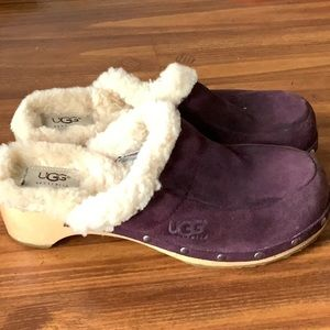 UGG Purple Suede Slide Mules Clogs Size 8